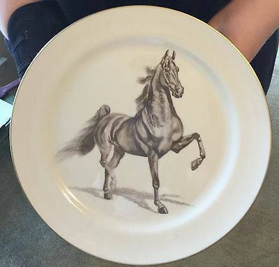 10.5 inch plate-light brown gorgeous show horse in motion-given as trophy-1970's