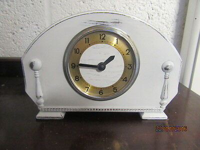 "Upcycled Shabby Chic Quartz Clock In Working Order 8.5"" x 5.5"""