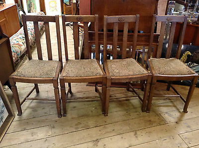 Antique Arts and Crafts Oak Dining Chairs x 4 C 1910