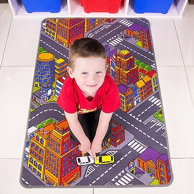 Kids Roads Big City Toy Map Floor Mat Rug for Cars Play Boys Children Bedroom
