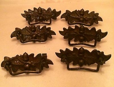 Antique Bronze Drawer Pull Handles Set of 6 Acorn & Leaf Design Vintage 4.75""