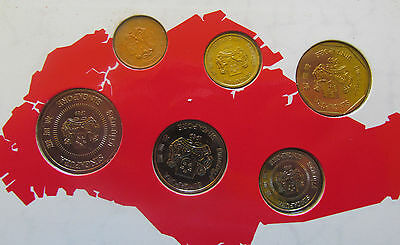 """Singapore 1989 set of 6 coins 1989 """"Year of the Snake"""" UNC"""