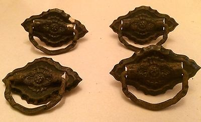 "Antique Bronze Drawer Pulls Set of 4 Victorian Design 3"" x 2"""