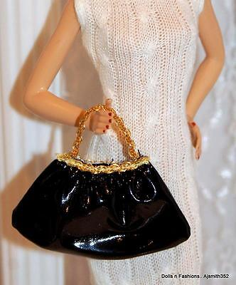 Barbie Doll Friends SilkStone Model Muse Faux Black & Gold Hand Purse Gold Strap