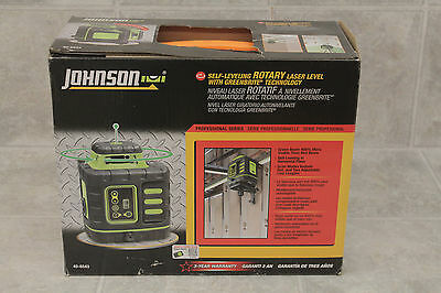 Johnson 40-6543 Self-Leveling Rotary Laser Level GreenBrite Technology NEW