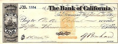 1869 $15,000 Bank of California - N. Pacific Transportation Co. Old Check USED