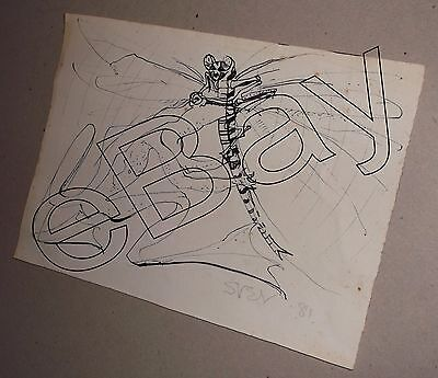 Original Signed Sven Berlin Drawing of frog catching a dragonfly from 1981
