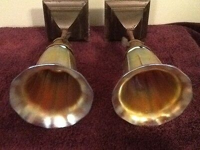 Antique Stueben Gold Aureen Iridescent Art Glass Shades W/ Ceiling Light Fixture
