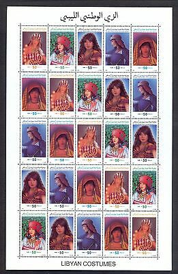1992 - Libya- Libyan costumes - Complete set -Strip of 5 Stamps MNH**