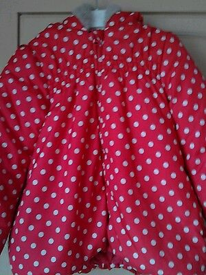 Miniclub Red White Spotty Coat Faux Fur Trimmed Hood Zip Up Age 5-6