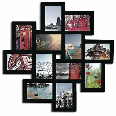 """Black Wood Wall Hanging Collage Picture Photo Frame, 12 Openings, 4x6"""""""