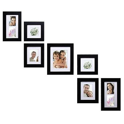 Adeco 7 Pieces Multi Sizes Black Wood Wall Hanging Photo Picture