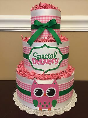 Diaper Cake Pink White Gingham Green Girls Owl 3 Tier Baby Shower Centerpiece