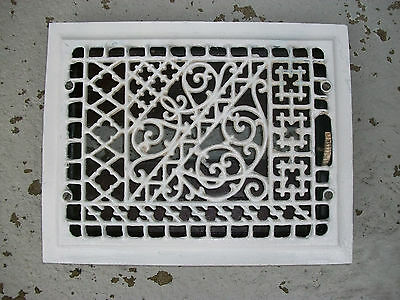 Antique 9 X 12 Inch Cast Iron Ornate  Floor/wall  Register Grate Louvers
