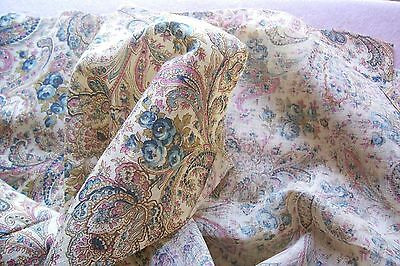Vtg Antique PAISLEY ROSE Cotton Fabric Early 1900's