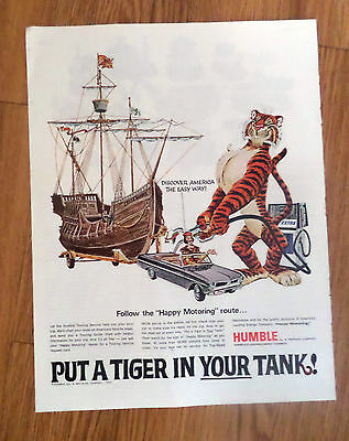 1966 Humble Oil Gas Ad Tiger in Your Tank