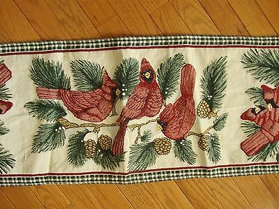 "CARDINAL Bird Woven Tapestry Table Runner Buffet Runner 13"" x 70"""