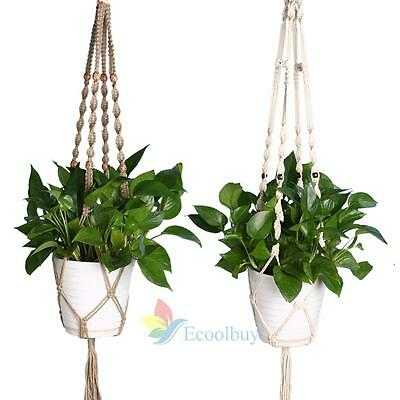 4 Leg Macrame Jute Rope Plant Holders Flower Pot Hanger Basket Khaki White #A