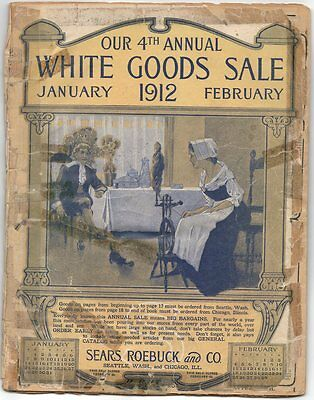 1912 SEARS White Goods Catalog 98 pg; Furniture Fashion Wagons; rough / complete
