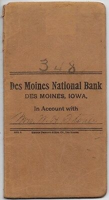 vintage 1910 Des Moines Iowa NATIONAL BANK leather memo book; Mrs WH Stoner