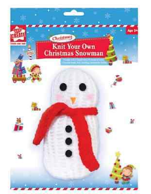 Knit your own Christmas Snowman Craft Knitting Activity Set Gift