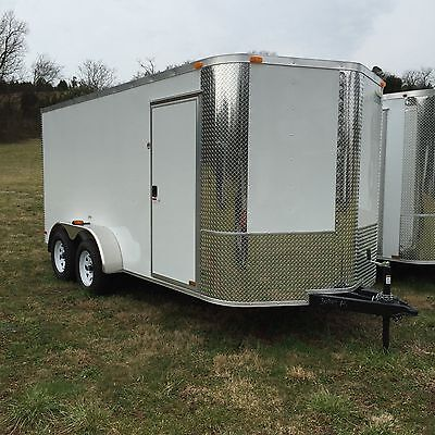 NEW 2017 7x14 V-Nosed Enclosed Cargo Motorcycle Trailer Ramp & Side Door