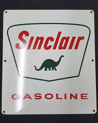 Vintage Sinclair Gasoline Pump Plate In Porcelain Sign With Dinosaur