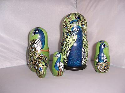 Hand painted Peacocks collection stacking nesting doll set