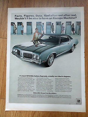 1970 Oldsmobile Olds Cutlass Supreme Ad Facts Figures Data