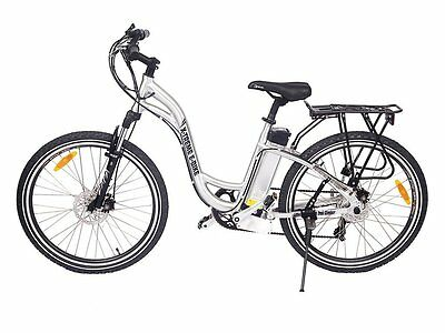 Silver Electric Step Through Mountain Bike Bicycle Ebike Lithium 300W 24V 20MPH