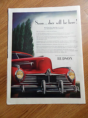 1945 Hudson Ad Soon They will be Here! Watch for 1st Showing of new 1946 Hudsons