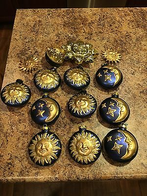 Lot Of 14 Star Moon Sun Blue Gold Glitter Holiday Or Everyday Tree Ornaments