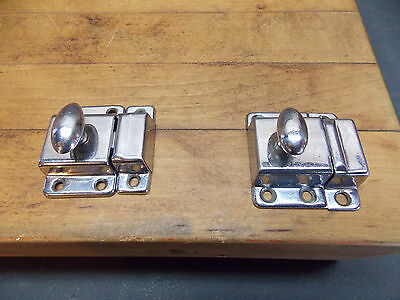 2 vintage antique chrome steel cabinet door latches Art Deco bathroom cupboard
