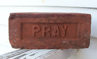 "ANTIQUE ""PRAY"" BRICK  New England GREENFIELD MA  Brickyard (Red Clay) ~LOT E~"