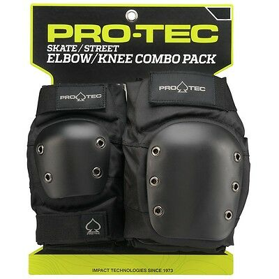 Protec STREET Skateboard KNEE AND ELBOW Pads SET BLACK XL