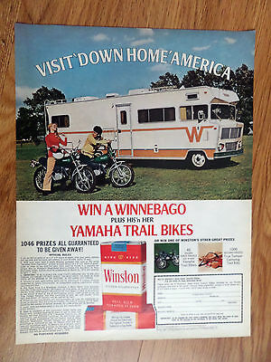 1972 Winston Cigarette Ad Win a Winnebago Motor Home Yamaha Tail Motorcycles
