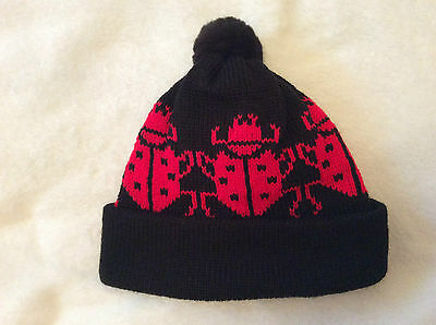 BOBBLE HAT in Black with LADYBIRDS. Xmas, winter warmth, wildlife. Size 5-8 yr