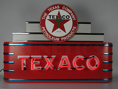Texaco Art Deco Neon Sign Oil and Gas Texas Star Theater Marquee Steel Can