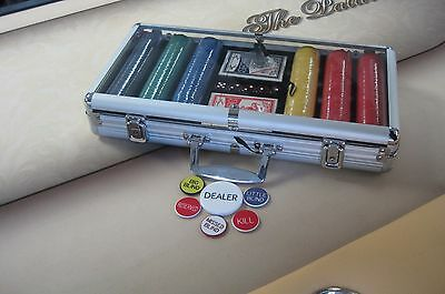 300 Chips Poker Diamond Chip Set W/ Dice Decks Dealer Kit & Silver Case + Keys *