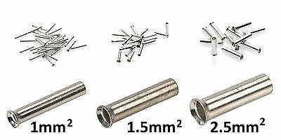 Uninsulated Bootlace Cord End Ferrules Cable Crimps - 1mm² to 2.5mm²
