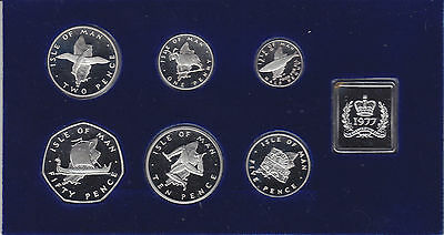 Isle of Man 1977 - Cased Pobjoy Mint SILVER PROOF SIX COIN SET + Medallion