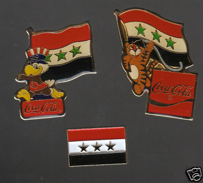 IRAQ 3 LAPEL PINS Lot Collection Flags Olympics Badges