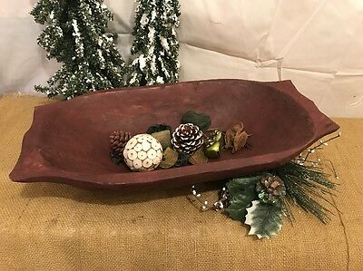 Primitive Red Country Hand Carved Large/Deep Wood Dough Bowl -Centerpiece