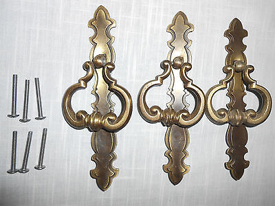 "Set of 3 LARGE Brass Door Handle W/ Pull Ring & Screws 7"" Salvage Hardware"