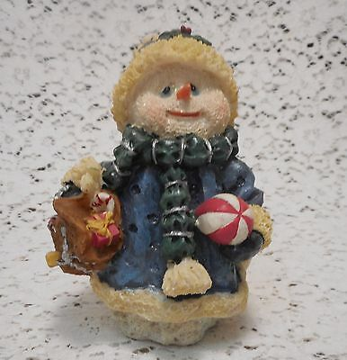Resin Snowman Figurine in Blue Winter Coat, Hat, Mittens & Scarf
