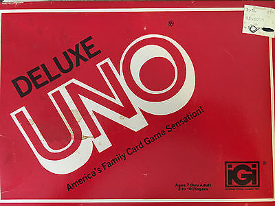 Vintage 1981 iGi Deluxe Uno Card Game in Original Box with Score Cards