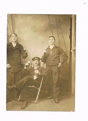 RPPC European French? Sailors Drinking Alcohol Real Photo Postcard 1900s