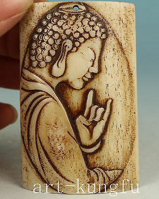 Chinese Old Collection Handmade Carved Buddha Statue Pendant Netsuke Not plastic