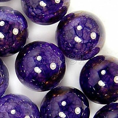 6/8/10mm Natural Purple Dragon Veins Agate Onyx Gems Round Loose Beads 15'' AAA