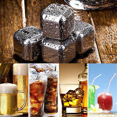 Whisky Wine Stainless Steel Ice Stones Drinks Cooler Cubes Whiskey Scotch Stones